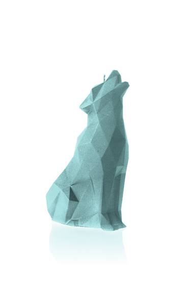 Świeca Candle Wolf Low Poly Mint