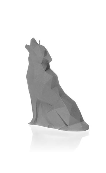 Świeca Candle Wolf Low Poly Grey Matt