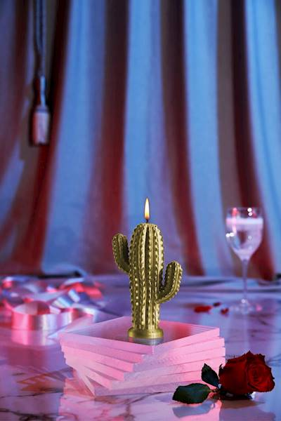 Świeca Candle Cactus Small Classic Gold