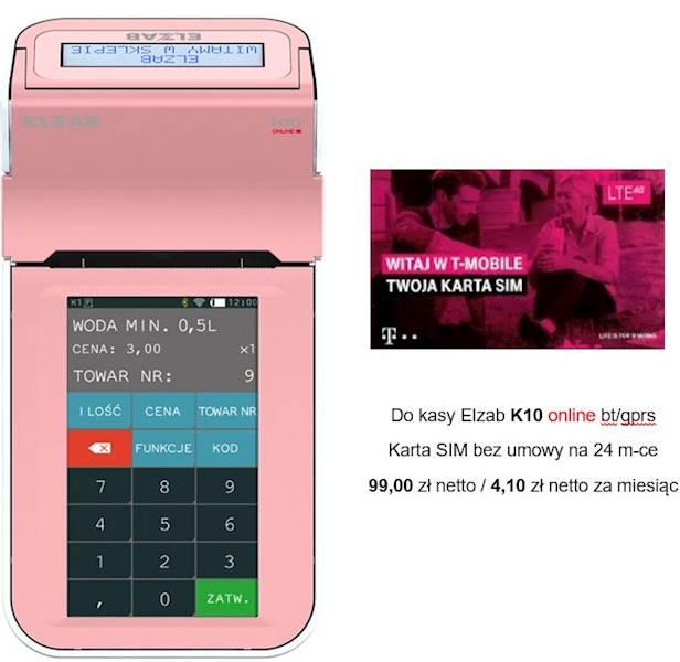 ELZAB KASA ONLINE K10 BT/GPRS różowo-biała