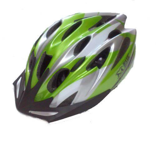 Kask M-WAVE zielony biało/srebrny 58-61 IN-MOLD