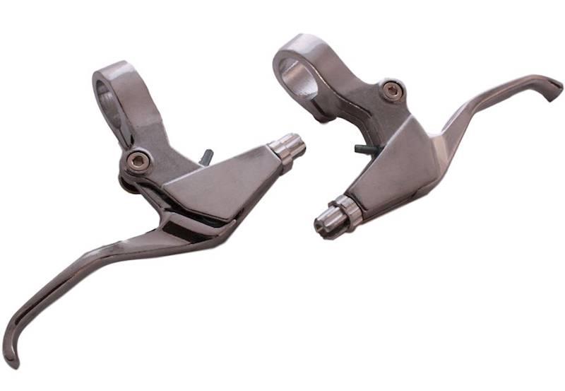 Klamki hamulca MTB aluminiowe srebrne