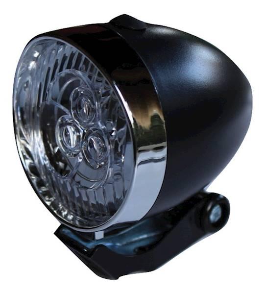Lampka przód RETRO LED bateryjna / czarna