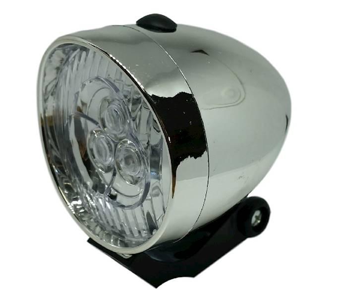 Lampka przód RETRO LED bateryjna / srebrna