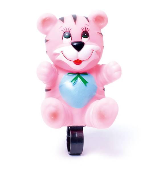 Dzwonek maskotka - miś różowy / karta