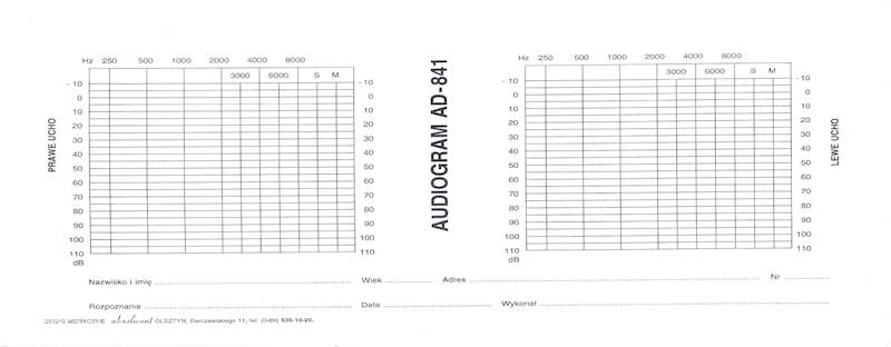 AD-841 Audiogram 1/2 A4a/bl.100k