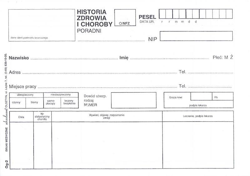 OG-2 Historia zdrowia i choroby -  Poradnia 2xA5c/500szt