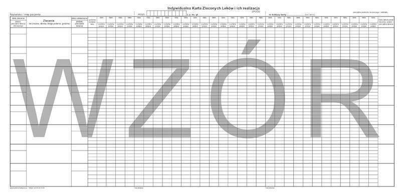 ZPO/20 Indywidualna karta zleconych leków 297x610mm/100szt