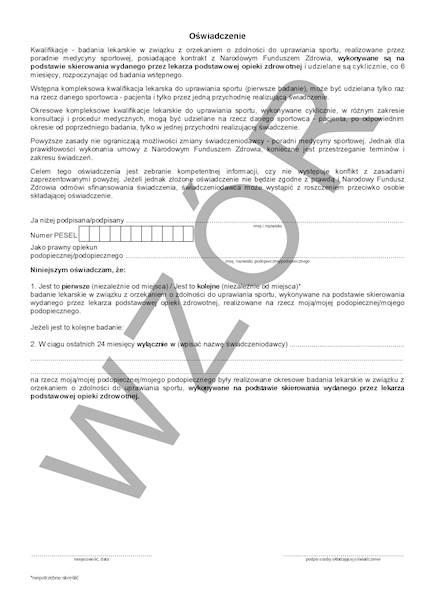 SP-1 Formularz Badania (Uprawianie Sportu) A4c/bl.100k