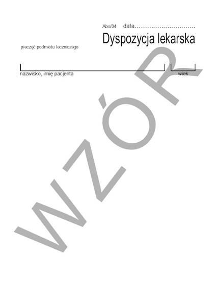 ABS/04 Dyspozycja lekarska A6a/bl.100k