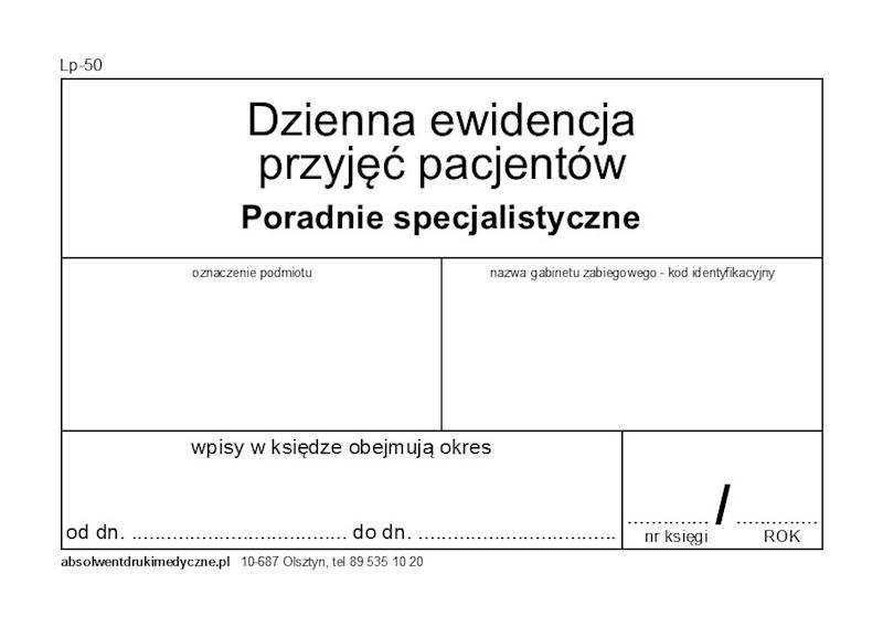 LP-50 Dzienna ewidencja (poradnie specjalistyczne) A4c/100k Spirala