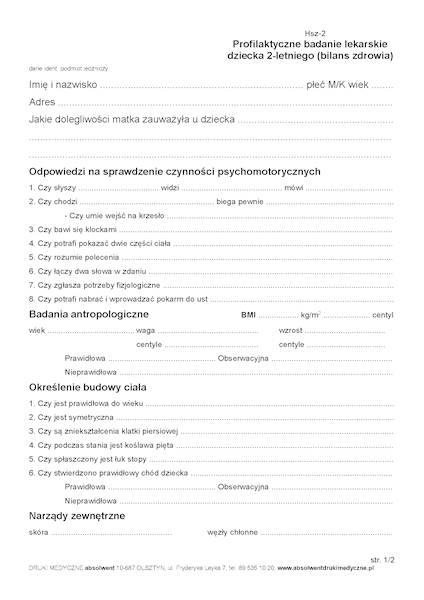 HSZ-2 Bilans 2-latków A5c/bl.100k