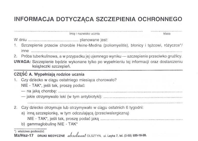 HSZ-17 Informacja Dotycząca Szczepienia Ochronnego A6c/bl.100k