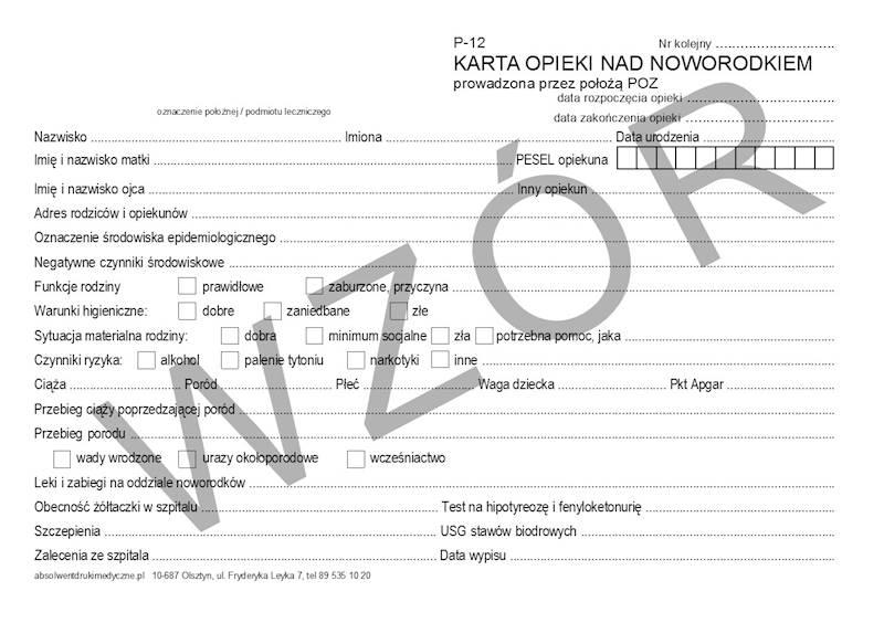 P-12 Karta opieki nad noworodkiem 2xA5c/100szt