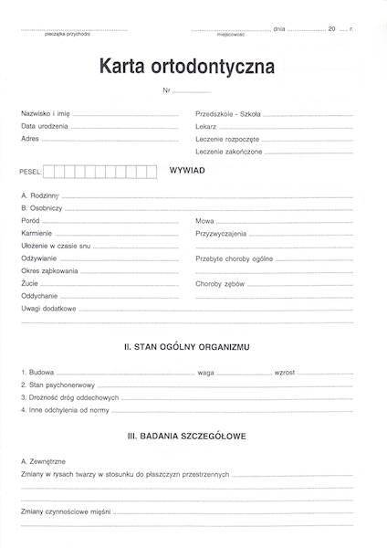 ST-10 Karta ortodontyczna 2xA4c/100szt