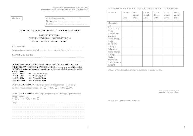 NFZ-61 Karta monitorowania leczenia żywienia dzieci A4c/bl.100k