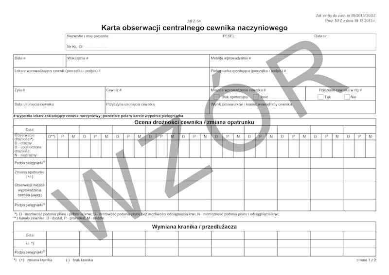NFZ-54 Karta obserwacji centralnego cewnika naczyniowego A4c.bl.100k