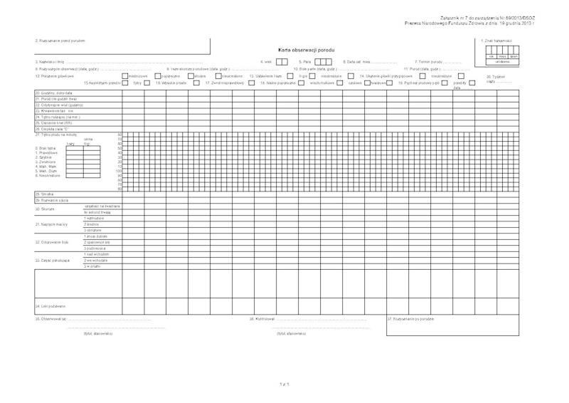 NFZ-55 Karta obserwacji porodu A4a/bl.100k