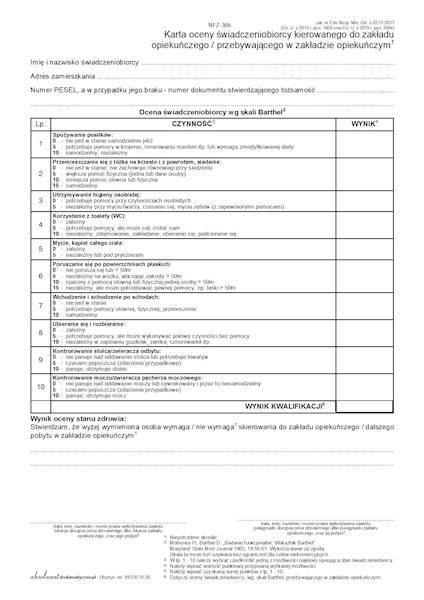 NFZ-36B Karta oceny świadczeniobiorcy kierowanego do zakładu opiekuńczego / przebywającego w zakładzie opiekuńczym A4a/bl.100k