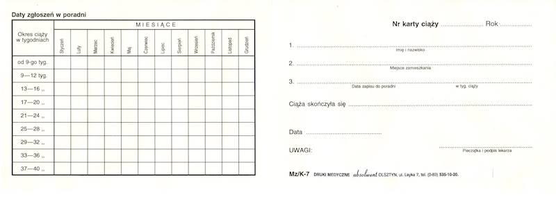 K-7 Karta kontroli zgłoszeń ciężarnej w poradni A6c/100szt Karton