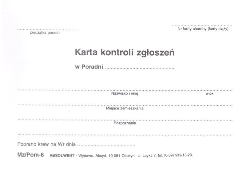 POM-6 Karta kontroli zgłoszeń A6b/100szt Karton