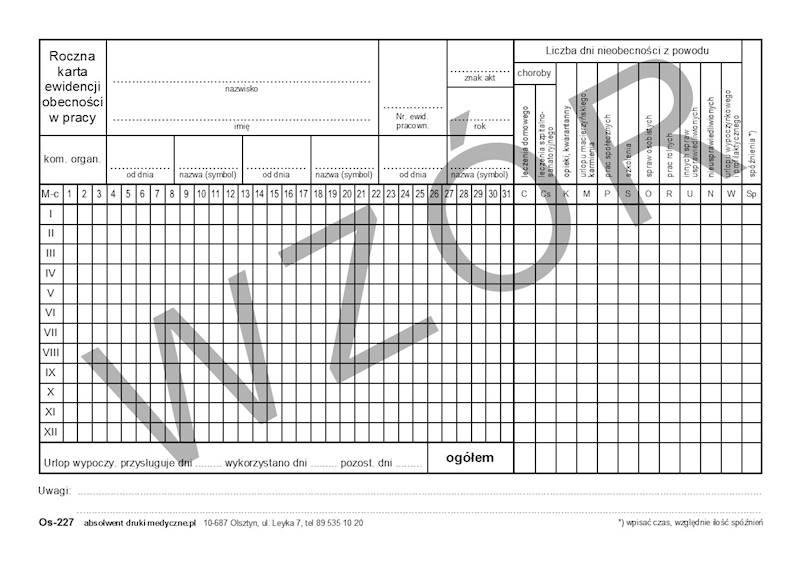 OS-227 Karta ewidencji czasu pracy A5a/100szt Karton