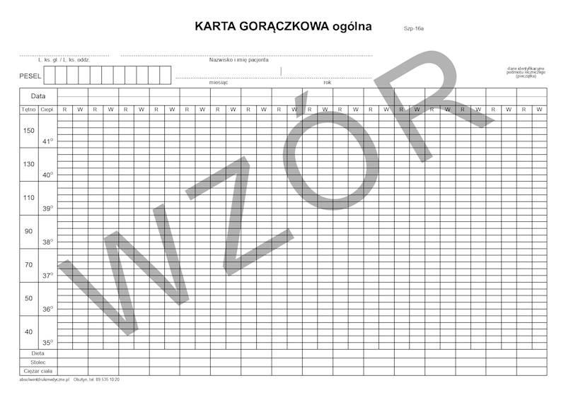 SZP-16A Karta gorączkowa ogólna 16 dni A4b/bl.100k