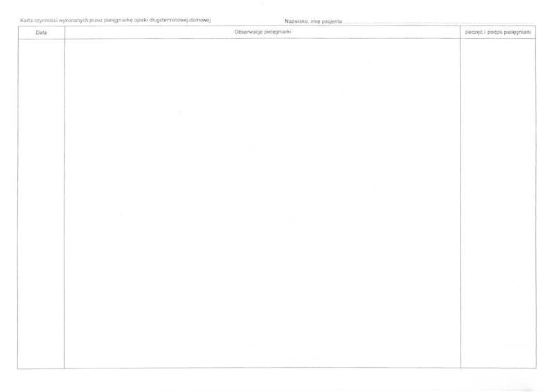 P-14 Karta czynności pielęgnacyjnych opieki długoterminowej 2xA4c/100szt