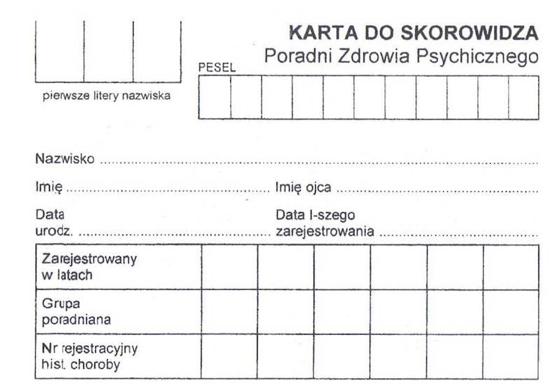 PS-2 Karta do skorowidza poradni zdrowia psychicznego A7c/100szt Karton