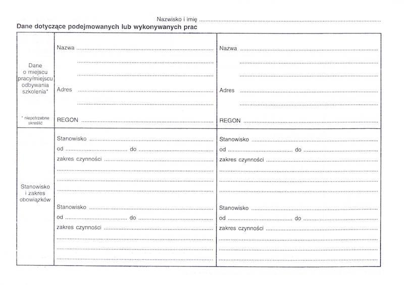 LP-51 Karta badania do celów sanitarno - epidemiologicznych 2xA5/100szt