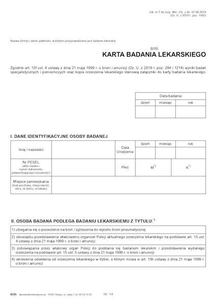 B/05 Karta badania lekarskiego (Broń) 2xA4c/100szt