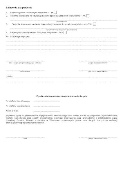 NFZ-25 Karta badania profilaktycznego (układu krążenia) A4c/bl.100k