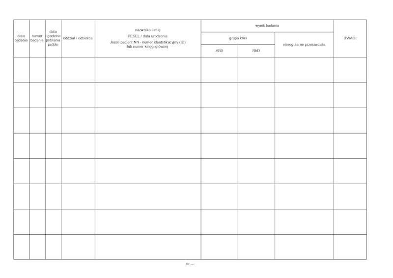 SK-29 Książka badań grup krwi A4b poziomo/50k Drut