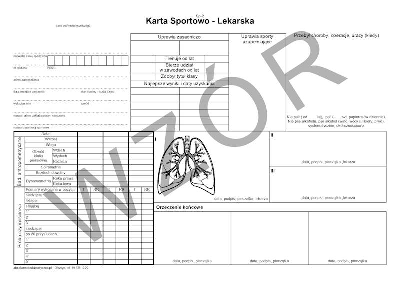SP-2 Karta Sportowo - Lekarska A4c/100szt Karton