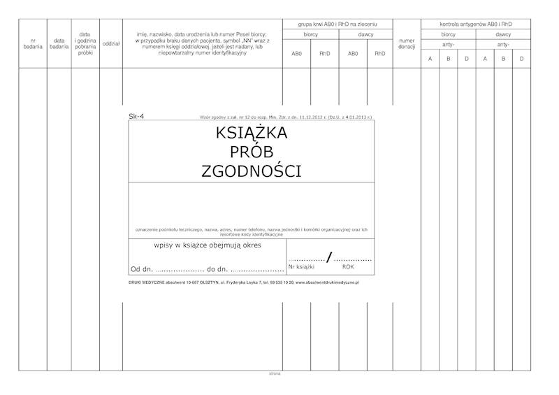 SK-4 Książka Prób Zgodności A4c/100k Spirala
