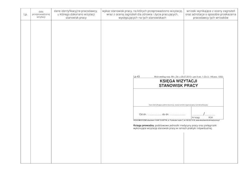 LP-43 Księga wizytacji stanowisk pracy A4b/100k Spirala