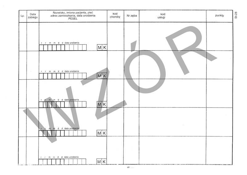 ST-28 Księga zabiegów stomatologicznych A4b/100k Spirala