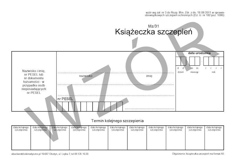 MZ/31 Książeczka szczepień (dziecko) 2xA5c/bl.100k