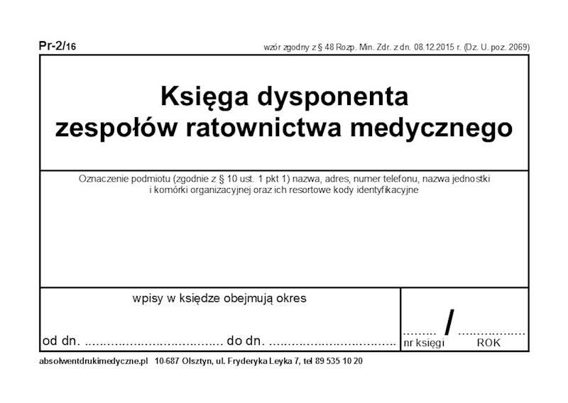 PR-2/16 Księga dysponenta ZRM A4c/100k Spirala