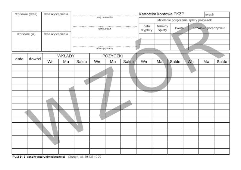 PU/2-31-5 Kartoteka kontowa PKZP A5c/100szt Karton