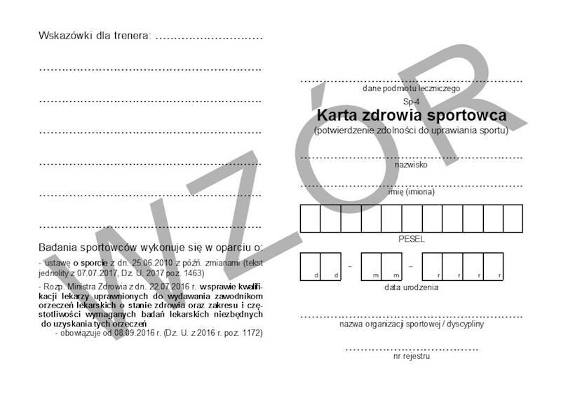 SP-4 Karta zdrowia sportowca A6c/100szt Karton