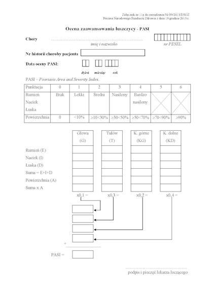 NFZ-56 Karta Zaawansowania Łuszczycy PASI A4a/bl.100k