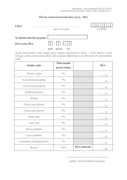 NFZ-57 Karta Zaawansowania Łuszczycy BSA A4a/bl.100k