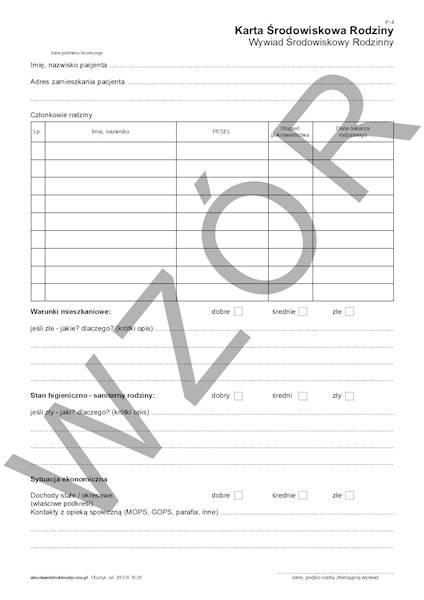 P-4 Karta Środowiskowa Rodziny A4a/bl.100k