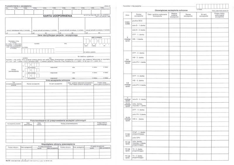 MZ/30 Karta Uodpornienia A4c/100szt Karton