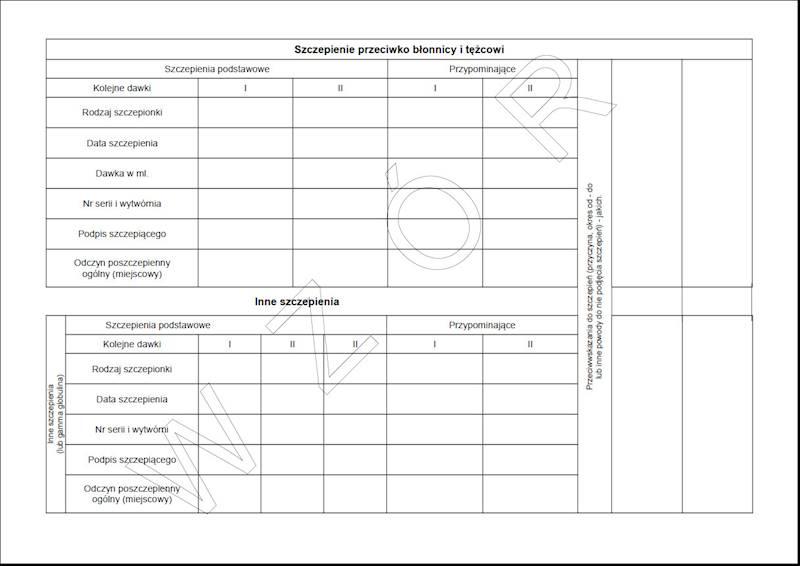 W-226 Karta uodpornienia (dla dorosłych) A5c/100szt Karton