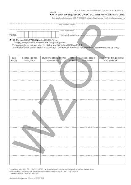 NFZ-64 Karta wizyt pielęgniarki opieki długoterminowej domowej A4c/bl.100k