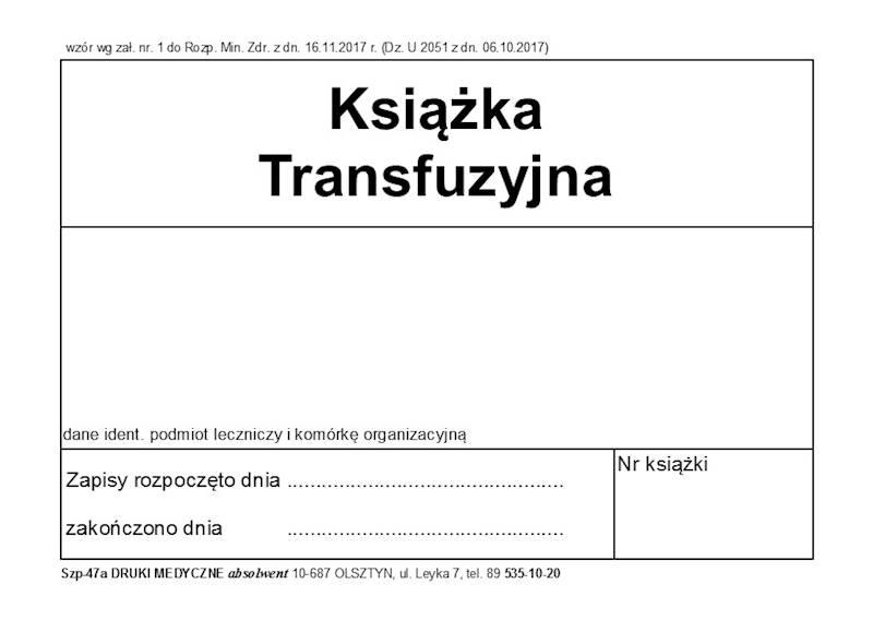 SZP-47A/D Książka Transfuzyjna A4c/100k Oprawa Twarda