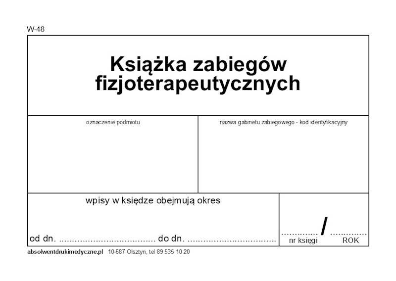 W-48 Książka zabiegów fizjoterapeutyczych A4c/100k