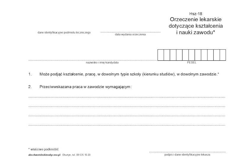 HSZ-18 Orzeczenie lekarskie dotyczące nauki i kształcenia zawodowego A5a/bl.100k